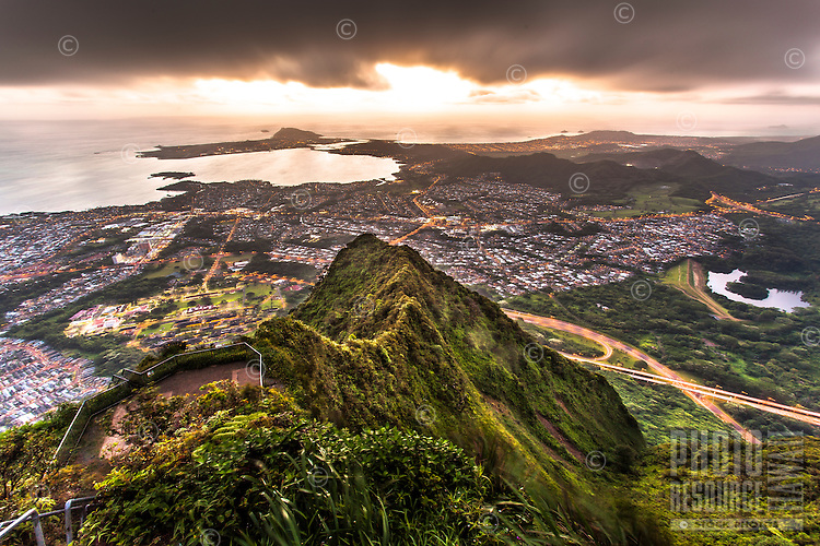 "An aerial view of Kane'ohe at dawn from Ha'iku Stairs (or ""Stairway to Heaven"") hiking trail in Kane'ohe, O'ahu."