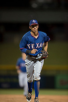 AZL Rangers infielder Jayce Easley (71) jogs off the field between innings of an Arizona League game against the AZL Cubs 2 at Sloan Park on July 7, 2018 in Mesa, Arizona. AZL Rangers defeated AZL Cubs 2 11-2. (Zachary Lucy/Four Seam Images)