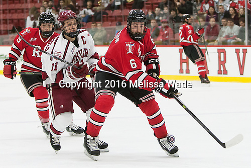 Meirs Moore (RPI - 9), Kyle Criscuolo (Harvard - 11), Phil Hampton (RPI - 6) - The Harvard University Crimson defeated the visiting Rensselaer Polytechnic Institute Engineers 5-2 in game 1 of their ECAC quarterfinal series on Friday, March 11, 2016, at Bright-Landry Hockey Center in Boston, Massachusetts.