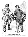 "The Tell-tale Pocket. Germany (to France). ""Won't you please help me! As you see, I'm destitute."" (Germany hides a Battleship Programme, unseen by France behind his coat tails)"