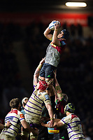 James Horwill of Harlequins wins the ball at a lineout. Gallagher Premiership match, between Harlequins and Leicester Tigers on May 3, 2019 at the Twickenham Stoop in London, England. Photo by: Patrick Khachfe / JMP