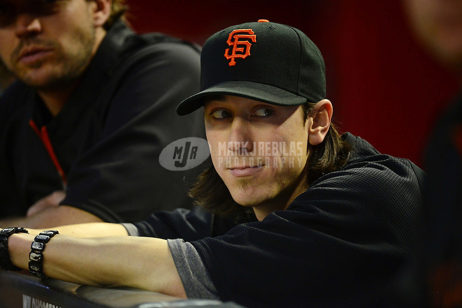 May 12, 2012; Phoenix, AZ, USA; San Francisco Giants pitcher Tim Lincecum watches from the dugout during game against the Arizona Diamondbacks at Chase Field. Mandatory Credit: Mark J. Rebilas-