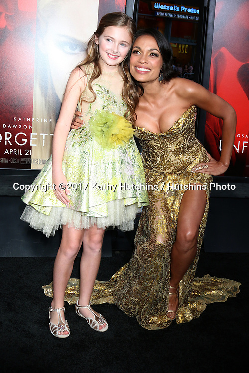 """LOS ANGELES - APR 18:  Isabella Kai Rice, Rosario Dawson at the """"Unforgettable"""" Premiere at TCL Chinese Theater IMAX on April 18, 2017 in Los Angeles, CA"""