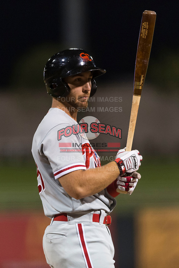 AFL East left fielder Austin Listi (23), of the Scottsdale Scorpions and Philadelphia Phillies organization, at bat during the Arizona Fall League Fall Stars game at Surprise Stadium on November 3, 2018 in Surprise, Arizona. The AFL West defeated the AFL East 7-6 . (Zachary Lucy/Four Seam Images)