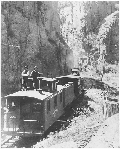 Caboose hop in Box Canyon.  [Enlargement of RD036-080.]<br /> D&amp;RG  Box Canyon (Calumet Branch), CO  Taken by Erdlen, C. W.