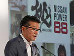 July 27, 2016, Yokohama, Japan - Japanese automobile giant Nissan Motor vice president Joji Tagawa announces the company's first quarter financial result at the Nissan headquarters in Yokohama, suburban Tokyo on Wednesday, July 27, 2016. Nissan's operating profit for the first quarter fell 9.2 percent to 175.8 billion yen since string yen and trouble of the MMC's mini car Days and Days Roox.    (Photo by Yoshio Tsunoda/AFLO) LWX -ytd-