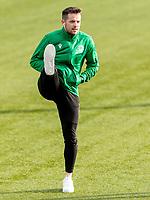 9th February 2020; Indodrill Stadium Alloa, Alloa Clackmannashire, Scotland; Scottish Cup Football, BSC Glasgow versus Hibernian; Marc McNulty of Hibernian inspects the pitch before kick off