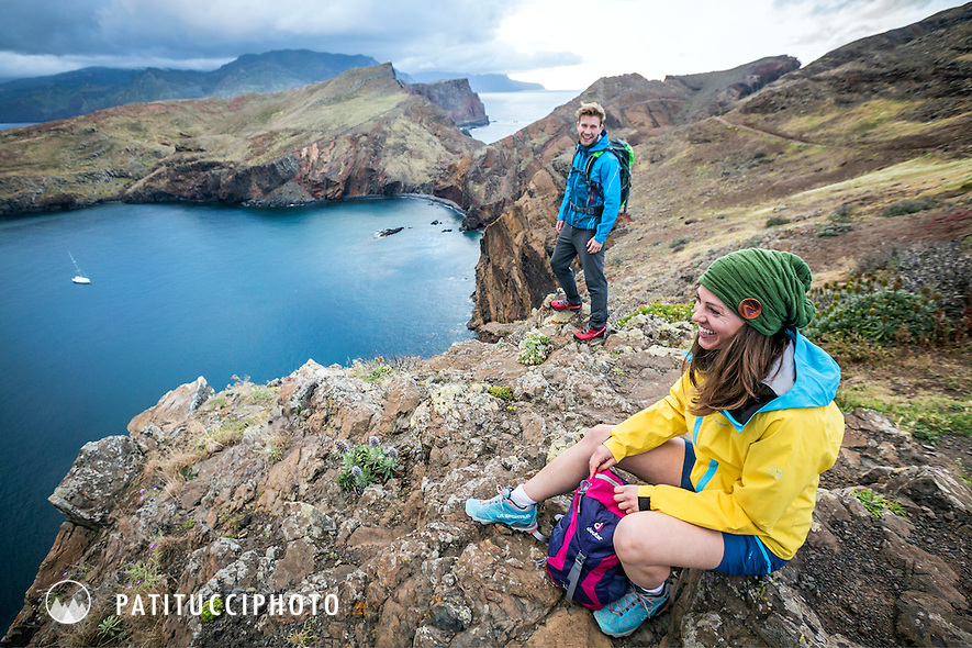 Hiking on the sea cliffs at Ponta Sao Lourenco, Madeira Island