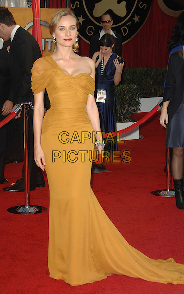 DIANE KRUGER.Arrivals at the 16th Annual Screen Actors Guild Awards Held At The Shrine Auditorium in Los Angeles, California, USA..January 23rd, 2010 .SAG SAGs full length yellow mustard maxi train dress gold clutch bag one shoulder off the .CAP/RKE/DVS.©DVS/RockinExposures/Capital Pictures