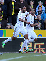 Pictured: Luke Moore (R) of Swansea celebrating his equaliser with team mate Ashley Williams (L). Saturday 06 April 2013<br />