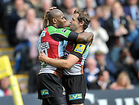 Twickenham, England.Ugo Monye of Harlequins celebrates his try with Nick Evans of Harlequins during the Aviva Premiership game between Harlequins and Leicester Tigers at Twickenham Stoop, London, England. 21 April 2012.