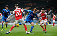 Fleetwood Town's Jason Holt and James Husband battles with  Rochdale's Matt Done<br /> <br /> Photographer Hannah Fountain/CameraSport<br /> <br /> The EFL Sky Bet League One - Rochdale v Fleetwood Town - Saturday 19 January 2019 - Spotland Stadium - Rochdale<br /> <br /> World Copyright © 2019 CameraSport. All rights reserved. 43 Linden Ave. Countesthorpe. Leicester. England. LE8 5PG - Tel: +44 (0) 116 277 4147 - admin@camerasport.com - www.camerasport.com