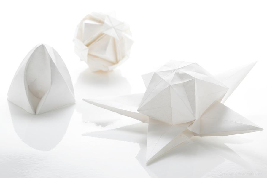 Three Origami Creations White On White Cribb Visuals