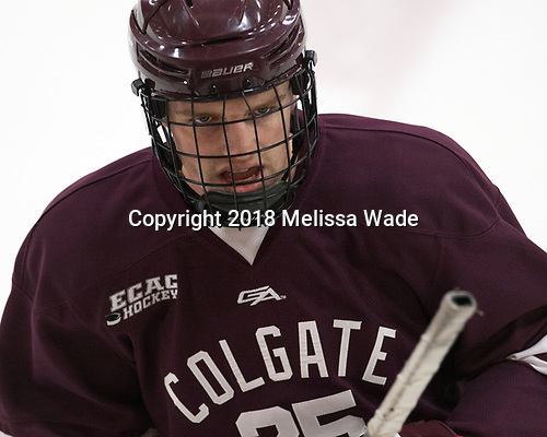 Evan Tschumi (Colgate - 25) - The visiting Colgate University Raiders shut out the Harvard University Crimson for a 2-0 win on Saturday, January 27, 2018, at Bright-Landry Hockey Center in Boston, Massachusetts.