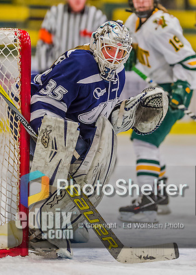 13 February 2015: University of New Hampshire Wildcat Goaltender Vilma Vaattovaara, a Junior from Veikkola, Finland, in third period action against the University of Vermont Catamounts at Gutterson Fieldhouse in Burlington, Vermont. The Lady Wildcats defeated Vermont 4-2 in the first game of their weekend Hockey East series. Mandatory Credit: Ed Wolfstein Photo *** RAW (NEF) Image File Available ***