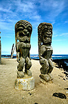 HI: Hawaii; Big Island, Place of Refuge National Park; Pu'uhonua o Honaunau National Historical Park; ki'i wooden images.Photos by Lee Foster, lee@fostertravel.com, www.fostertravel.com, (510) 549-2202.Image: hicity403