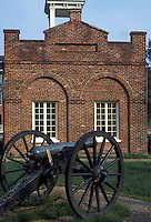 AJ2681, Harpers Ferry, West Virginia, cannon, Virginia, Maryland, Cannon displayed at John Brown's Fort at Old Arsenal Square in Harpers Ferry National Historical Park in Harpers Ferry in the state of West Virginia.