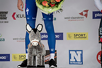 Kasper Asgreen (DEN/Deceuninck - QuickStep) wins the 72nd Kuurne-Brussel-Kuurne 2020 by staying seconds ahead of a chasing/sprinting peloton and receives the traditional Kuurne 'Victory Cup' > a stuffed donkey...<br /> <br /> Kuurne to Kuurne (BEL): 201km<br /> <br /> ©kramon