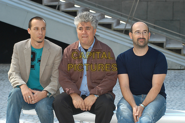 "FELE MARTINEZ, PEDRO ALMODOVAR & JAVIER CAMARA.Cast and director of ""Bad Education"" (La Mala Educacion).Rome, Italy, September 27th 2004..half length.Ref: LUC.www.capitalpictures.com.sales@capitalpictures.com.©Luca Cavallari/Capital Pictures ."