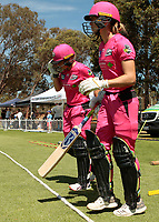 24th November 2019; Lilac Hill Park, Perth, Western Australia, Australia; Womens Big Bash League Cricket, Perth Scorchers versus Sydney Sixers; Alyssa Healy and Erin Burns of the Sydney Sixers walk out to open the innings for Sydney - Editorial Use