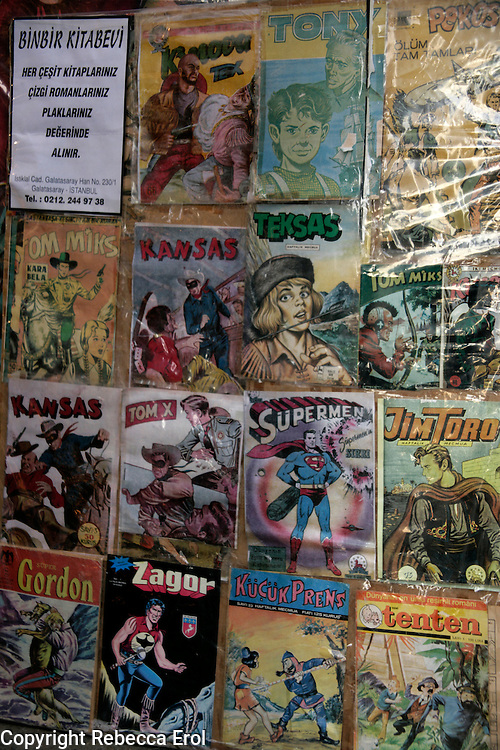 Old Turkish children's comics on display including Tin Tin and Superman, Turkey