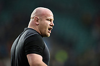 Dan Cole of England looks on during the pre-match warm-up. Natwest 6 Nations match between England and Wales on February 10, 2018 at Twickenham Stadium in London, England. Photo by: Patrick Khachfe / Onside Images