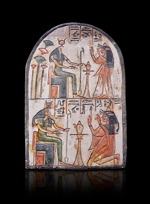"""Ancient Egyptian Ra stele , limestone, New Kingdom, 19th Dynasty, (1279-1190 BC), Deir el-Medina,  Egyptian Museum, Turin. black background<br /> <br /> Akh iqer en Ra """" the excellent spirit of Ra' stele. One of three stele forund in different rooms of houses in Deir el-Medina where they stood in niches"""