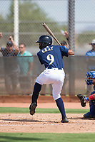 Milwaukee Brewers center fielder Joe Gray (9) at bat during an Instructional League game against the Los Angeles Dodgers at Maryvale Baseball Park on September 24, 2018 in Phoenix, Arizona. (Zachary Lucy/Four Seam Images)