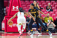 College Park, MD - DEC 6, 2016: Maryland Terrapins guard Ieshia Small (1) drives by Towson Tigers guard/forward Nukiya Mayo (1) on her way top the basket during game between Towson and Maryland at XFINITY Center in College Park, MD. The Terps defeated the Tigers 97-63. (Photo by Phil Peters/Media Images International)