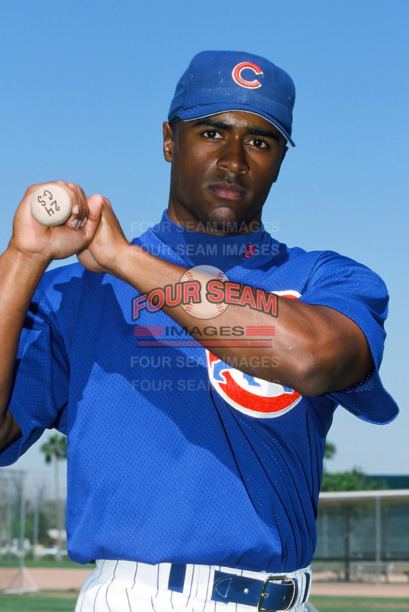 Corey Patterson of the Chicago Cubs poses for a photo before a 1999 Major League Baseball Spring Training game in Mesa, Arizona. (Larry Goren/Four Seam Images)