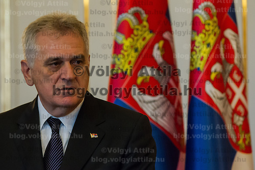 Tomislav Nikolic president of Serbia talks on a press conference during a meeting in Budapest, Hungary on November 13, 2012. ATTILA VOLGYI