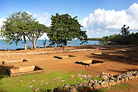 Almacen Real or Royal Warehouse, in the archaeological centre of the Parque Nacional Historico y Arqueologico de La Isabela, or Historical National Park of La Isabela, one of the oldest European settlements in the New World, in Luperon province, on the North coast of the Dominican Republic, in the Caribbean. The town of La Isabela was founded in 1493 by Christopher Columbus and a fort, houses, church, warehouses, and an arsenal were built, but the settlement was abandoned in 1496 due to hurricane damage. Picture by Manuel Cohen