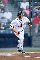 Kelby Tomlinson (1) of the Richmond Flying Squirrels hustles down the first base line against the Bowie Baysox at The Diamond on May 23, 2015 in Richmond, Virginia.  The Baysox defeated the Flying Squirrels 3-2.  (Brian Westerholt/Four Seam Images)