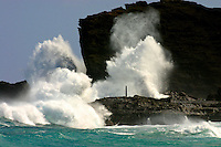 Peak season for the blow hole is during the summer months.  Waves crash into the cliffs of Halona Point, making its way through lava-tubes, water spew from an opening for tourist to enjoy.