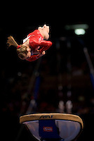 3/1/08 - Photo by John Cheng - Shawn Johnson of the United States performs on vault at the Tyson American Cup in Madison Square GardenPhoto by John Cheng - Tyson American Cup 2008 in Madison Square Garden, New York.Shawn Johnson