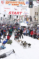 Saturday March 6 , 2010   Hans Gatt leaves the start line on 4th avenue during the ceremonial start of the 2010 Iditarod in Anchorage , Alaska