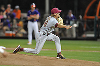 Florida State Seminoles pitcher Gage Smith #19 delivers a pitch during a game against the Clemson Tigers at Doug Kingsmore Stadium on March 22, 2014 in Clemson, South Carolina. The Seminoles defeated the Tigers 4-3. (Tony Farlow/Four Seam Images)