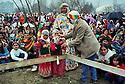 Syria 2000 <br /> Celebration of Nowruz in Damascus , little girls with photo of Ocalan       <br /> <br /> Syrie 2000 <br /> Fete de Nowruz dans un jardin de Damas, petites filles avec portrait de Ocalan