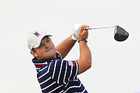 Patrick Reed (Team USA) the 7th tee during Friday Fourball at the Ryder Cup, Le Golf National, Iles-de-France, France. 28/09/2018.<br /> Picture Thos Caffrey / Golffile.ie<br /> <br /> All photo usage must carry mandatory copyright credit (© Golffile | Thos Caffrey)