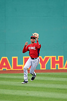 Potomac Nationals center fielder Blake Perkins (22) makes a catch during the first game of a doubleheader against the Salem Red Sox on June 11, 2018 at Haley Toyota Field in Salem, Virginia.  Potomac defeated Salem 9-4.  (Mike Janes/Four Seam Images)