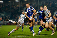 Jamie Roberts of Bath Rugby looks to offload the ball after being tackled. Premiership Rugby Cup match, between Bath Rugby and Gloucester Rugby on February 3, 2019 at the Recreation Ground in Bath, England. Photo by: Patrick Khachfe / Onside Images