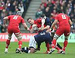 Gethin Jenkins of Wales tackled by Geoff Cross of Scotland - RBS 6Nations 2015 - Scotland  vs Wales - BT Murrayfield Stadium - Edinburgh - Scotland - 15th February 2015 - Picture Simon Bellis/Sportimage