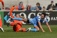 Bridgeview, IL - Saturday May 06, 2017: Vanessa DiBernardo, Rachel Daly during a regular season National Women's Soccer League (NWSL) match between the Chicago Red Stars and the Houston Dash at Toyota Park. The Red Stars won 2-0.