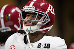 ATLANTA, GA - JANUARY 08: Najee Harris #22 of the Alabama Crimson Tide as all smiles as he warms up before taking on the Georgia Bulldogs during the College Football Playoff National Championship held at Mercedes-Benz Stadium on January 8, 2018 in Atlanta, Georgia. Alabama defeated Georgia 26-23 for the national title. (Photo by Jamie Schwaberow/Getty Images)