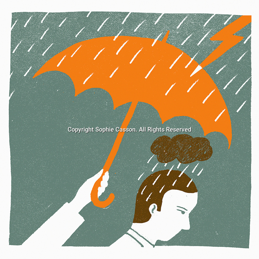 Hand with umbrella protecting sad man in rain from lightning ExclusiveImage