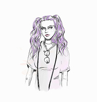 Fashionable young woman with purple bunches