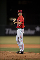 AZL Angels relief pitcher Jacob Voss (35) prepares to deliver a pitch during an Arizona League game against the AZL Diamondbacks at Tempe Diablo Stadium on June 27, 2018 in Tempe, Arizona. The AZL Angels defeated the AZL Diamondbacks 5-3. (Zachary Lucy/Four Seam Images)