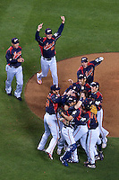 23 March 2009: Players of team Japan celebrate on the mound during the 2009 World Baseball Classic final game at Dodger Stadium in Los Angeles, California, USA. Japan defeated Korea 5-3