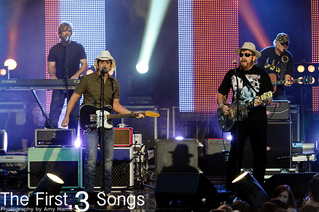 Brad Paisley and Hank Williams Jr. perform at the 11th Annual CMT Awards in Nashville, TN on June 6, 2012.