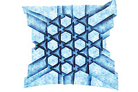New York, NY, USA - December 14, 2011: Origami tessellation designed by Eric Gjerde and folded by Esmé Cribb.